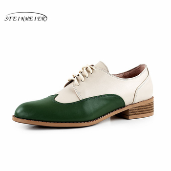 Women's Flats Oxford Shoes Woman Genuine Leather Sneakers Ladies Brogues Vintage Casual Shoes Shoes For Women Footwear 2020 women genuine cow leather casual designer vintage lady flats shoes handmade oxford shoes for women 2020 black spring