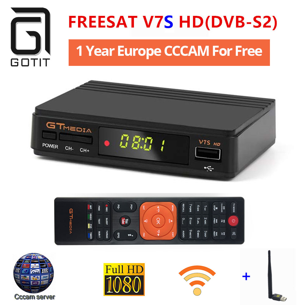 FREESAT V7S Satellite Receiver Box with 12 Month Europe Cccam 4clines Full HD 1080P and USB