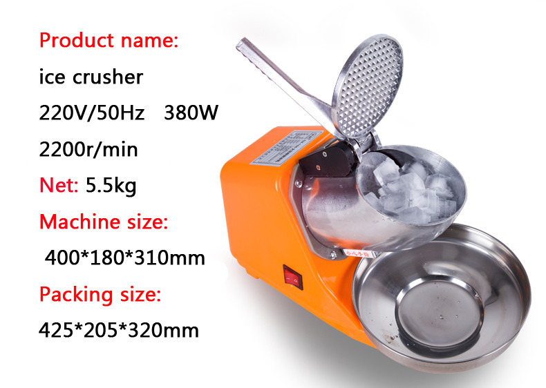 Portable Electric Ice Crusher Commercial Aluminium Alloy Ice Crusher with Low Noise in Orange Color DM-SJ