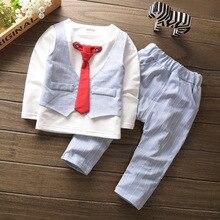 Комплект одежды для маленьких мальчиков, хлопковый костюм в полоску с длинными рукавами и галстуком+ штаны модная одежда для маленьких мальчиков комплект из 2 предметов для новорожденных