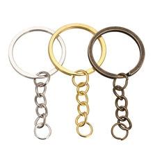 Chaveiro de bronze rodio com 20/30 peças, chaveiro bronze de cor dourada com 28mm, divisão redonda, joia fazer atacado