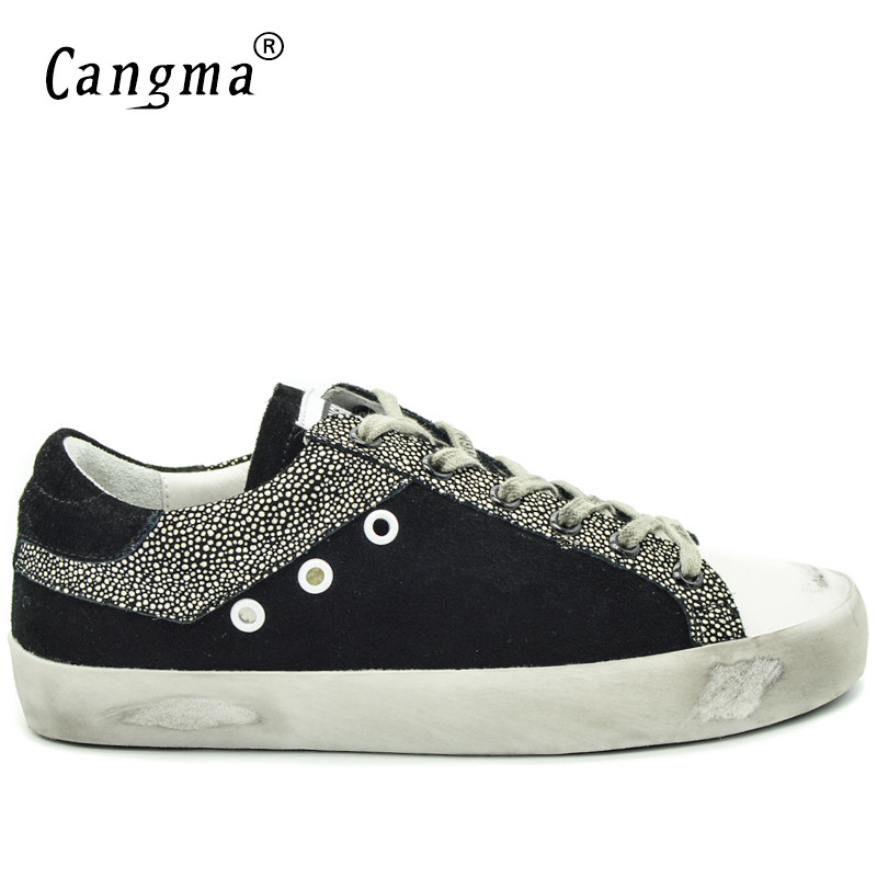 CANGMA Men  Sneakers Balck White Breathable Genuine Leather Men Shoes Plus Size Valentine Shoes Casual Footwear 2019 New-in Men's Casual Shoes from Shoes    3