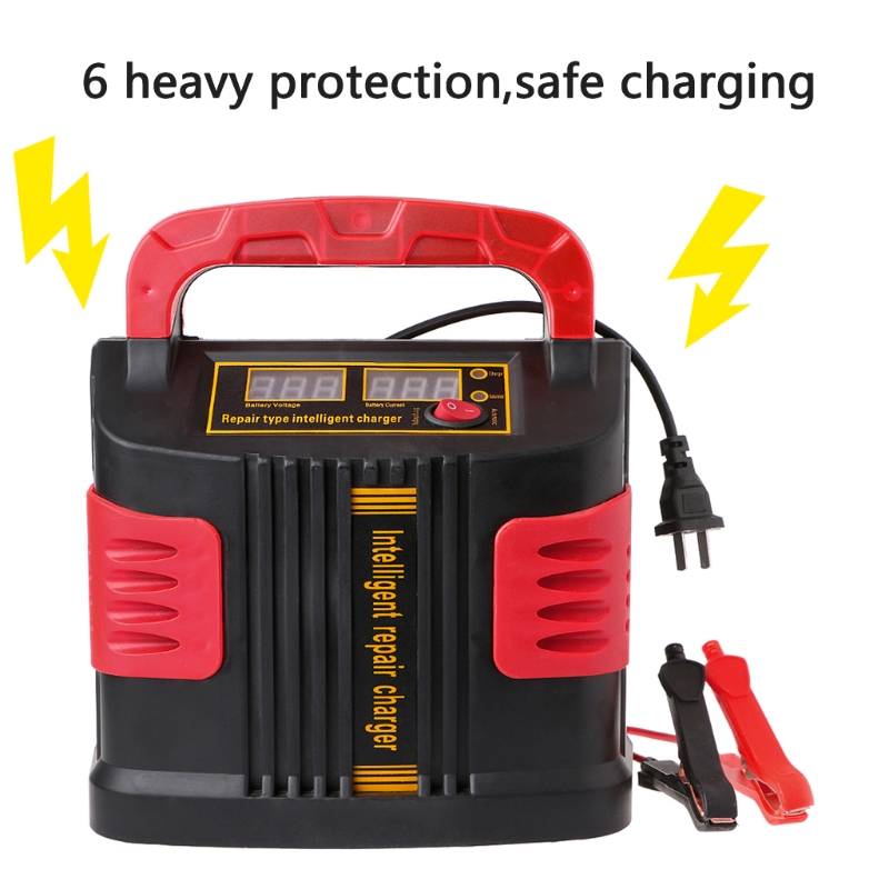 OOTDTY 350W 14A AUTO Plus Adjust LCD Battery Charger 12V-24V Car Jump Starter Portable