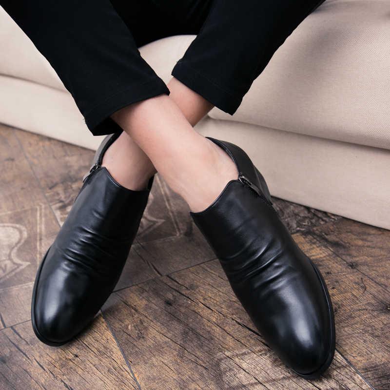 Erkekler zarif basit Kat Elbise ayakkabı Oxford Lüks İngiliz Tarzı Ofis düğün Resmi Büyük boy slip-on pointedtoe deri ayakkabı