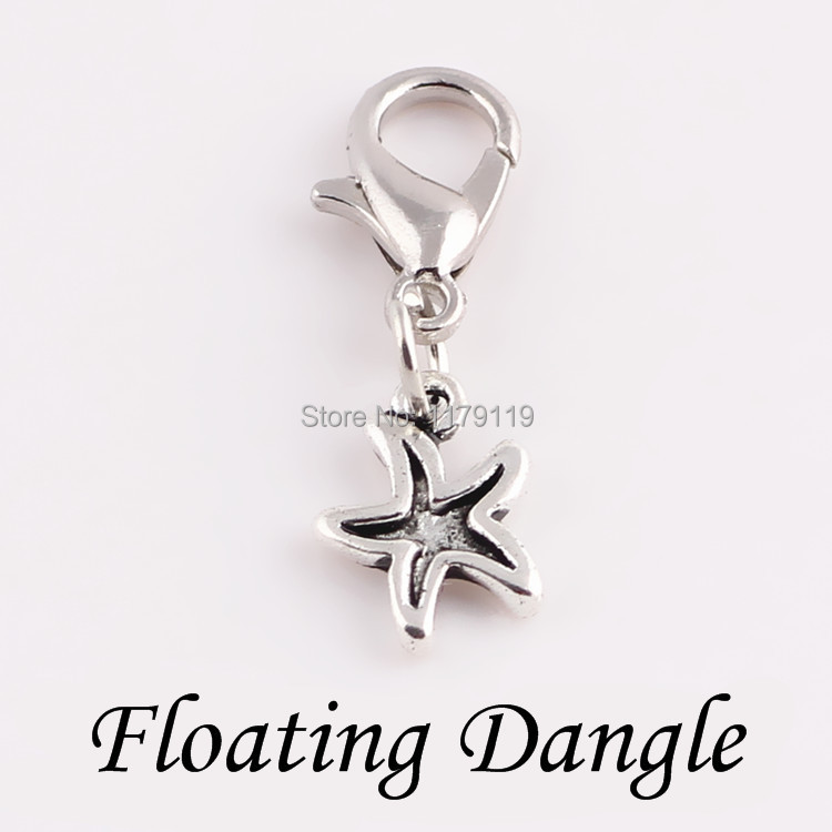 (Free Shipping) 20pcslot Unisex Star Floating Locket Dangle Charms For Memory Living Locket