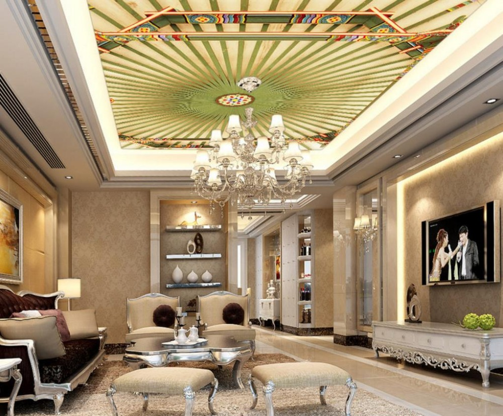 Classical Chinese style 3d Ceiling Wallpaper Living Room Luxury Ceiling Murals Wallpaper Decoration Design european 3d wallpaper moroccan style wall stickers waterproof kitchen toilet decoration classical pattern living room murals
