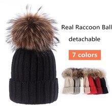 Мода мама и дети теплые зимние трикотажные шапки 15 см реальные помпон из меха енота шапки для маленьких девочек/мальчиков шапочка