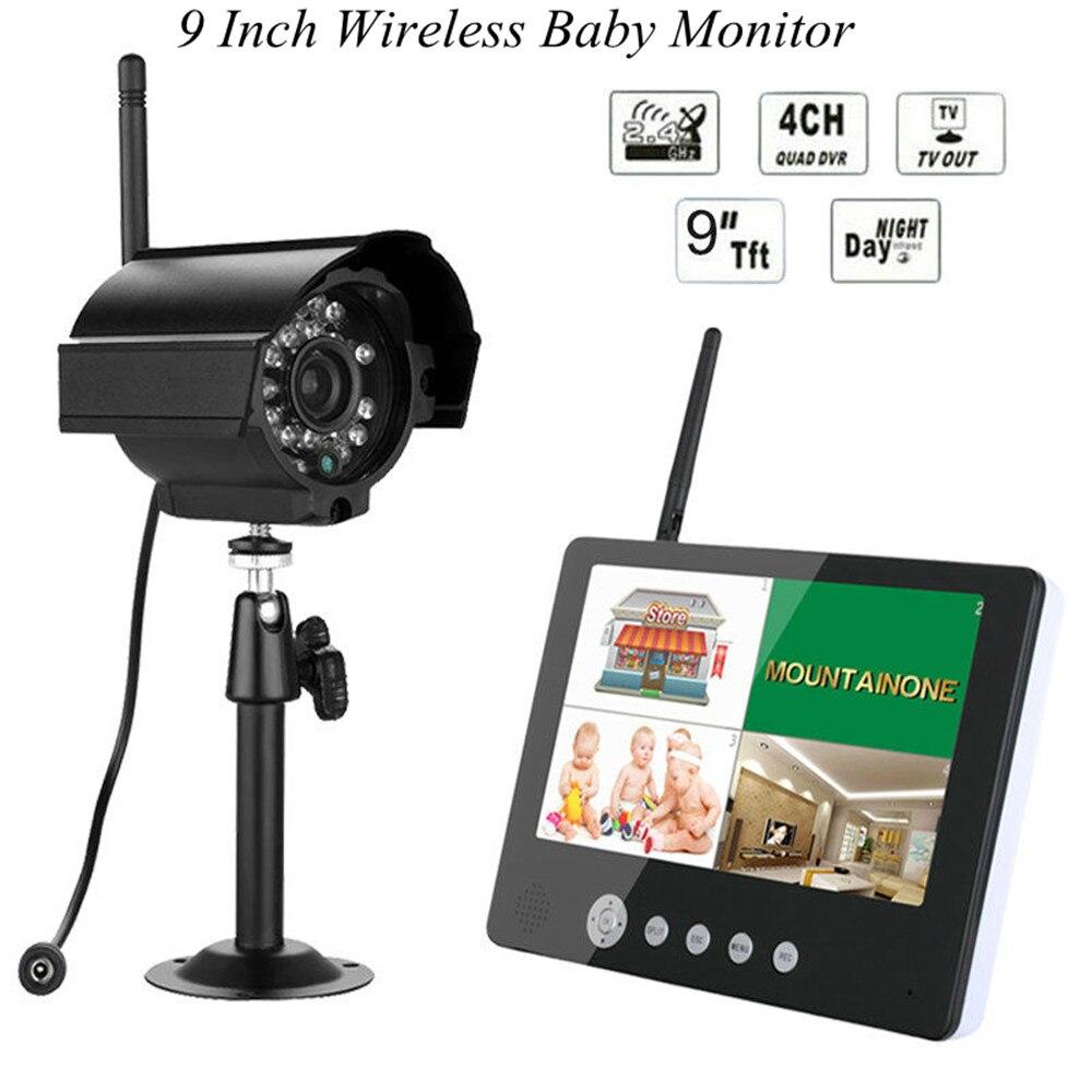 9 Inch LCD Display 4CH 4 Split Wireless Baby Monitor IR Night Vision Camera 2 4ghz wireless baby camera ir night vision 4ch optional wireless baby monitor
