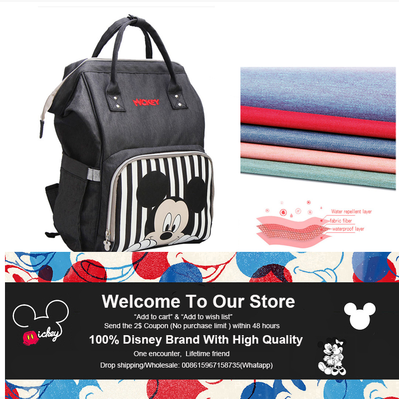 Image 4 - Disney Diaper Bag Backpack For Moms Baby Bag Maternity For Baby Care Nappy Bag Travel Stroller USB Heating Send Free 1Piar Hooks-in Diaper Bags from Mother & Kids
