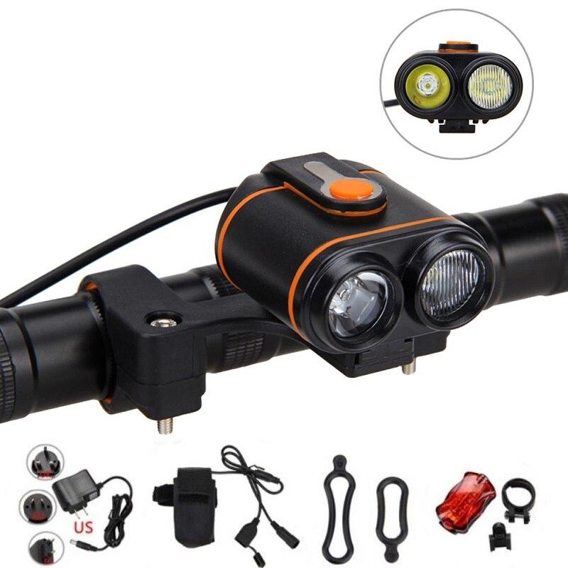 Outdoor Sports Bike Lamp 8000lm 2x XM-L2 LED Bicycle Light Headlamp Torch Recharge Bike Headlight Accessories+6400mAh Battery аккумулятор d minamoto r20 8000 mah nimh 2 штуки