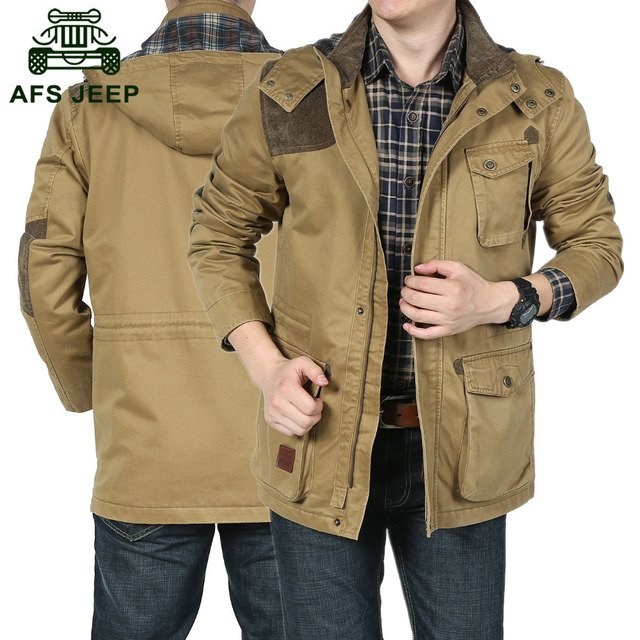 AFS JEEP Outdoors Military Casual Brand Mens Spring Camping Hooded Long Jackets Coats 100 Cotton