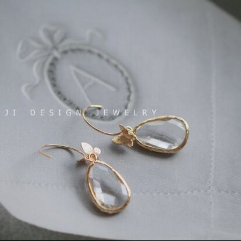 S925 silver jewelry brushed crystal clear dripping three dimensional matte butterfly earrings fairy earrings Woman 39 s earrings in Drop Earrings from Jewelry amp Accessories