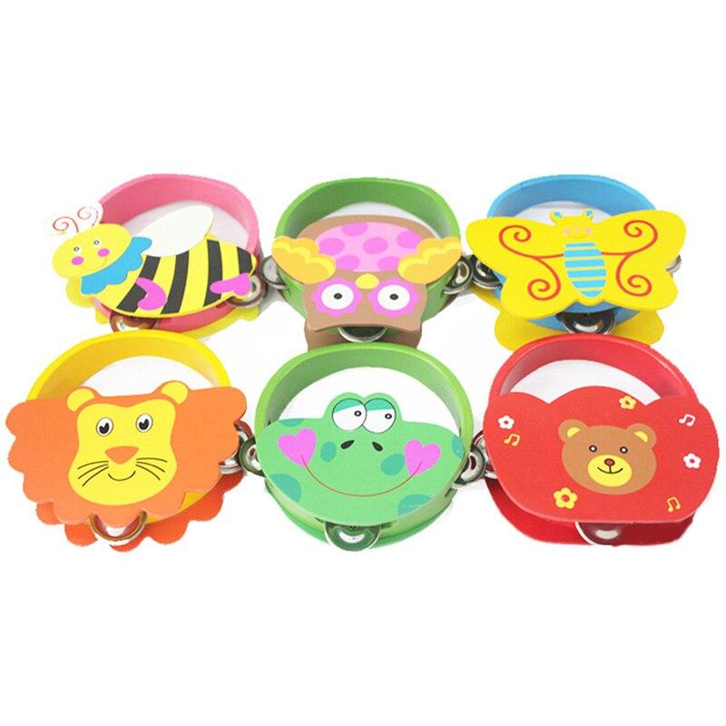 Alarm Baby Houten Handtrommel Rammelaar Cartoon Muziekinstrument Bed Rammelaars Tamboerijn Baby Vroege Educatief Fun Speelgoed Elegant In Geur