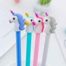ФОТО 4pcs creative kawaii cartoon pens lovers unicorn stylus gel pens gift ink school writing office supplies stationery caneta kalem