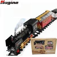 Электрическая классическая трек поезд высоком Класс дыма Моделирование Электрический светом Поезд большая коллекция игрушки детские рожд