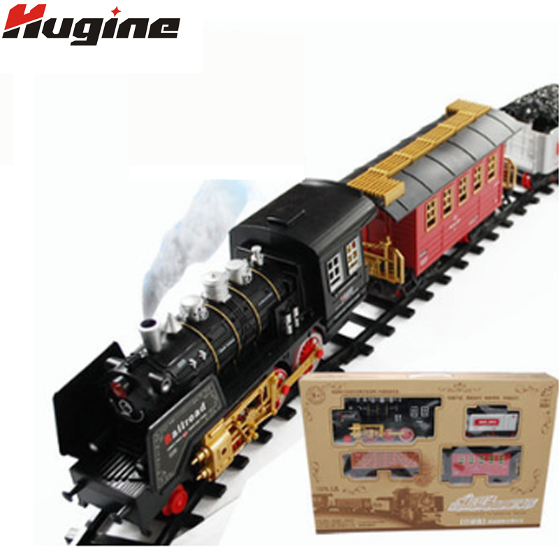 Electric Classical Track Train High-Grade Smoke Simulation Electric With Light Train Big Collection Toy Children Christmas Gifts