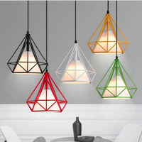 Free Delive led bulb colorful birdcage pendant lights iron retro light oft pyramid lamp metal cage with VDE best wire and holder