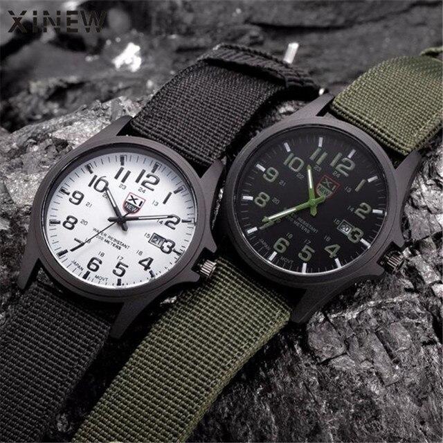 2018 Новый Известный XINEW бренд для мужчин Дата кварцевые часы военный армейский военный холст ремешок аналоговые спортивные наручные