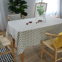 Geometric Grey Triangle Tablecloth Cotton Linen Table Cloth Rectangular Tea Table Desk Cover Home Decor Dustproof Cushion Cover
