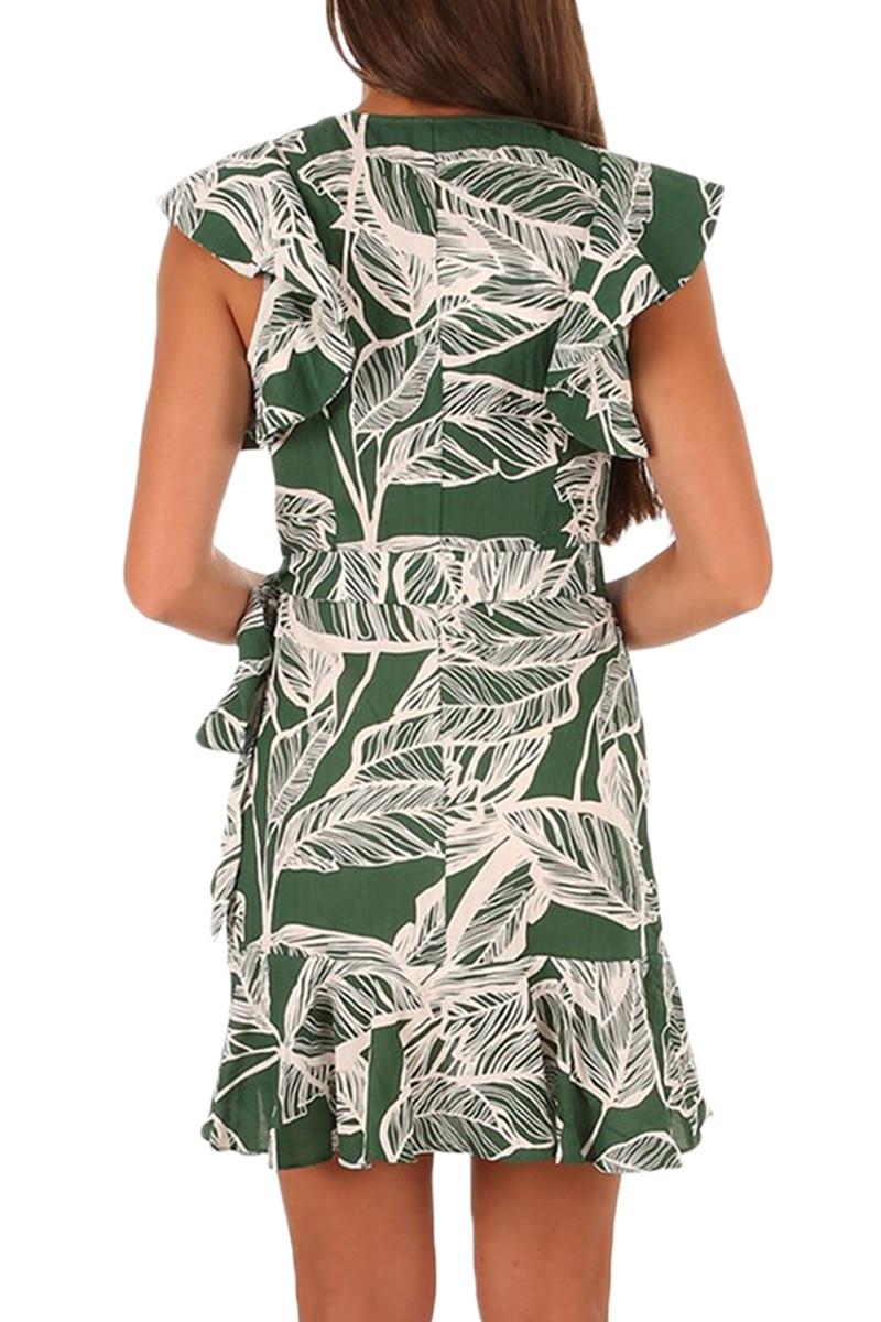 abbdf4766 Zmvkgsoa Beach Bohemian Dresses Mustard Leaf Vein Print Ruffle Wrap ...