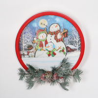 Christmas Decoration Pendant 30 CM Round Snow Restaurant Family Scene Wall Hanging Small Ornaments Supplies