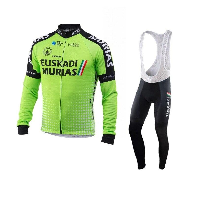 цена winter fleece 2018 pro team euskadi green cycling jersey men warmer bike cloth coat MTB Ropa Ciclismo Bicycle maillot gel pad онлайн в 2017 году