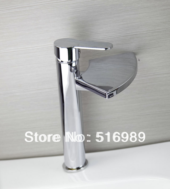 New Tall style Basin Sink Faucet Waterfall Spout Bathroom Mixer Polished Chrome hejia35