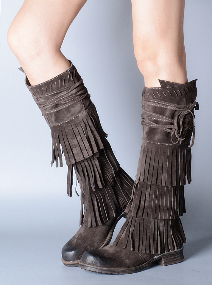 Gray Fringe Boots Promotion-Shop for Promotional Gray Fringe Boots ...