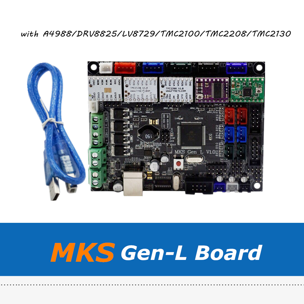 3D Printer Board MKS Gen L V1.0 Integrated Controller Motherboard With 5pcs A4988/DRV8825/LV8729/TMC2100/TMC2208 Driver mks gen l v1 0 integrated controller pcb board reprap ramps 1 4 support a4988 drv8825 tmc2208 tmc2130 driver for 3d printer