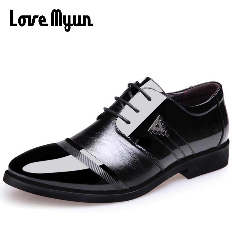 Working Office Oxfords Gentleman leather shoes for men business dress wedding shoes lace up Pointed toe big size 38-45 AA-19 new brand designer formal men dress shoes lace up business party oxfords shoes for men pointed toe brogues men s flats plus size