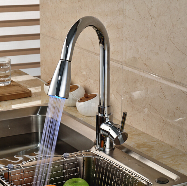 Chrome Brass Single Lever Kitchen Sink Mixer Faucet Deck Mount LED ...