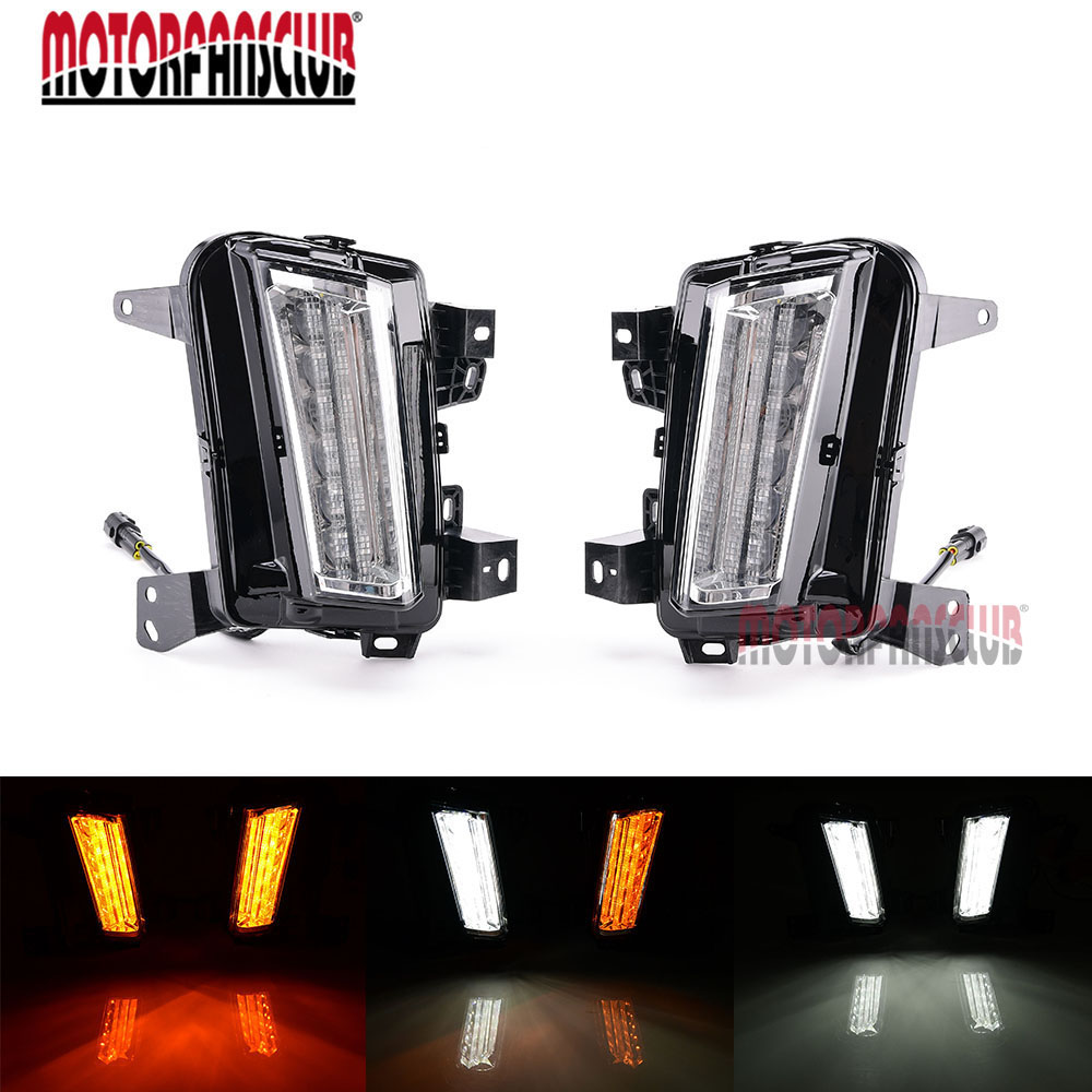Car Auto LED Daytime Running Light For Cadillac XT5 2017 Fog Lamp DRL With Yellow Turn Signal Lamps
