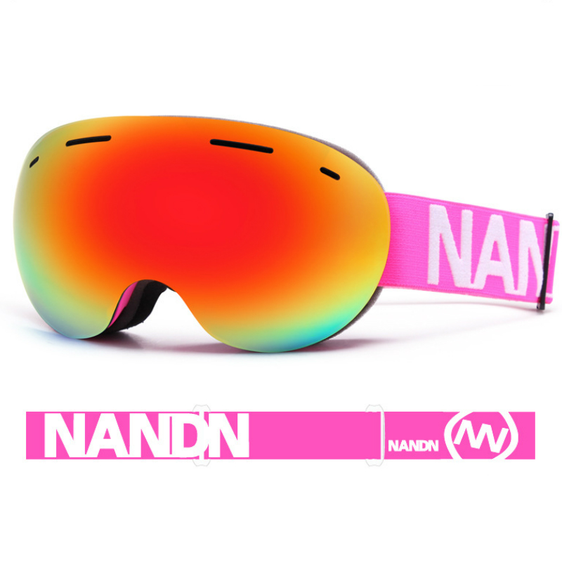 NANDN Ski Lunettes Double Couches UV400 Anti-brouillard Grand Masque de Ski Lunettes de Ski Hommes Femmes Neige Snowboard Lunettes Avec boîte d'origine