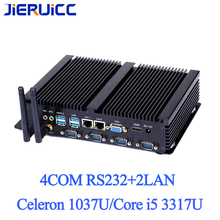 4RS232 COM 2LAN FANLESS MINI PC 4K HD intel celeron 1037U i5 24 Hours Working 2 COM HDMI VGA Dual Display 150M Wifi 4K HD HTPC
