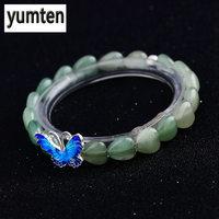 Yumten Aventurine Jade 925 Silver Butterfly Love Women S Bracelet Jewelry Wristband Silicone Rainbow Pulseras Mujer