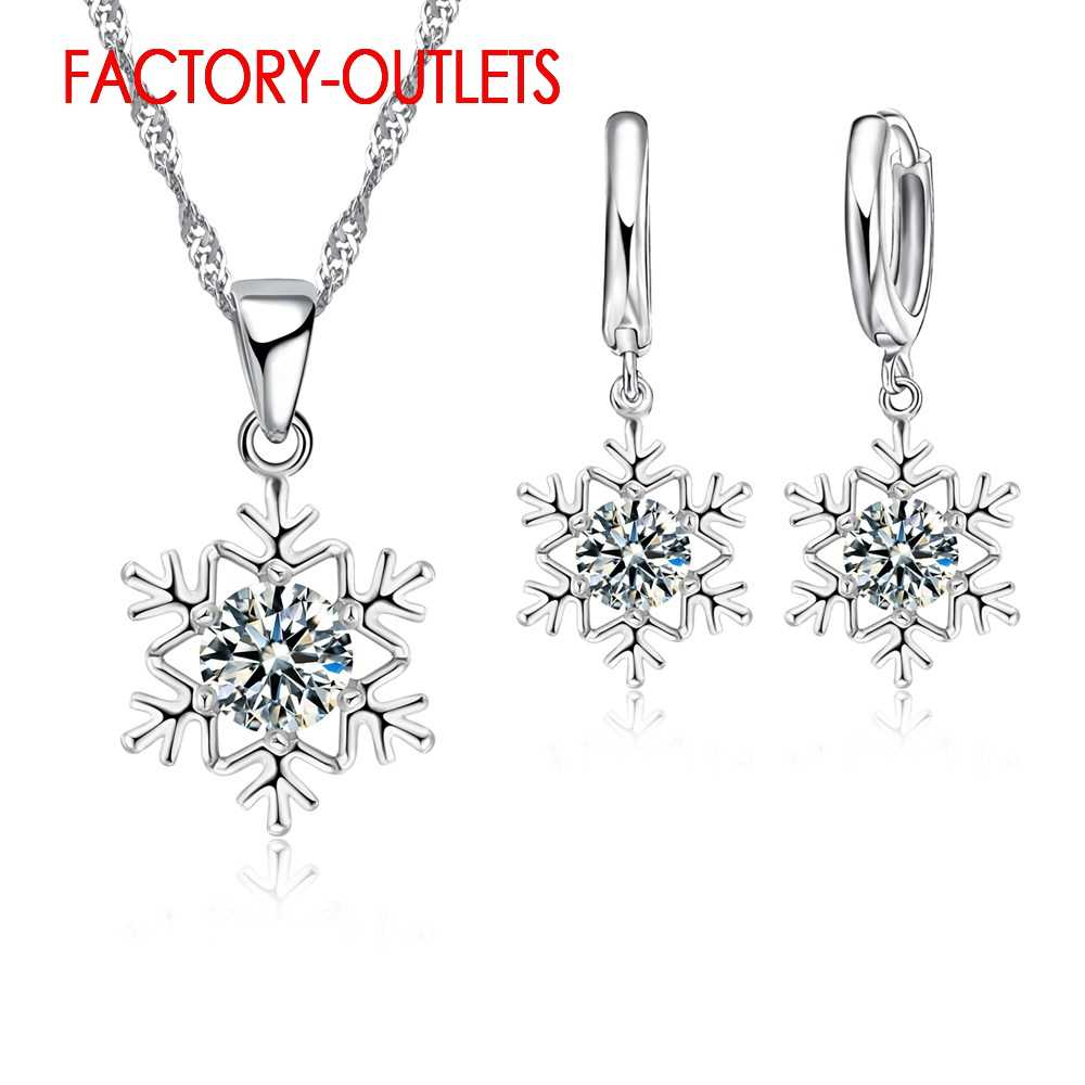 925 Sterling Silver Bridal Jewelry Sets Fashion Jewelry Snow Shape CZ Cubic Zirconia Women Girls Engagement Anniversary