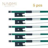NAOMI 5Pcs 4/4 Carbon Fiber Violin Bow Green Carbon Fiber Bow Well Balance Horse Hair Violin Bow Violin Parts Accessories