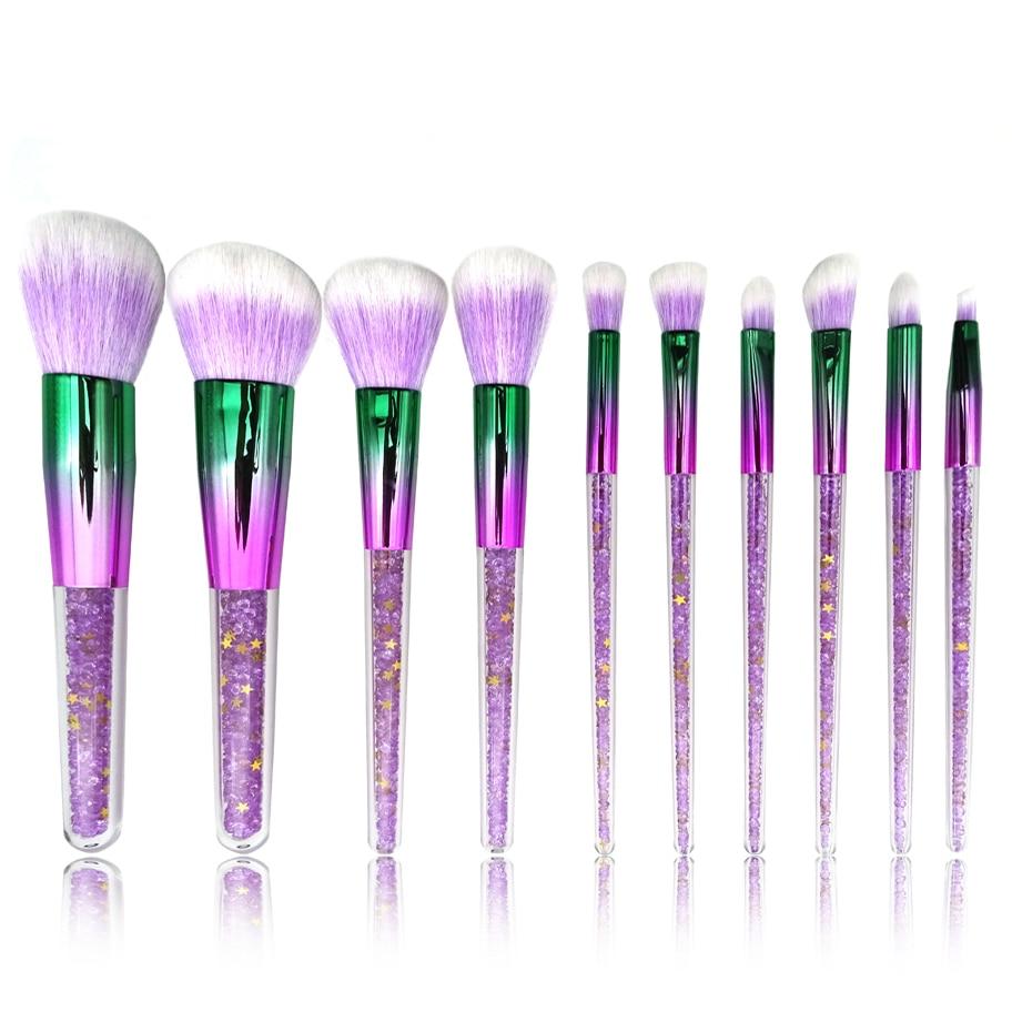 10pcs Purple Pink Diamond Unicorn Crystal Makeup Brushes Shinny Foundation Blending Face Brush Makeup Tool Set maquillaje