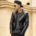 Men Autumn casual Slim imitation leather blazer hombre Brand Clothing Outerwear elasticity PU leather blazer men Jacket suit