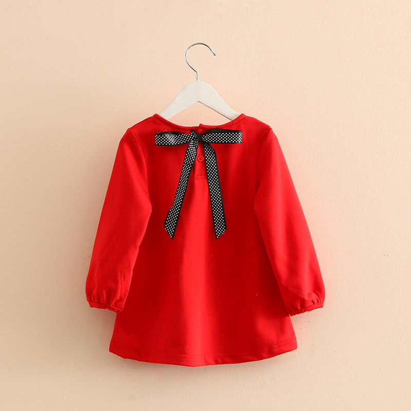 Kids Girls Dress Red Dot Bow Girl Dresses Preppy Style Long Sleeve Princess Dress For Party Baby Girl Costume Kids Clothes belababy baby girls preppy style dress princess children autumn double breasted cute kids casual long sleeve dresses for girls