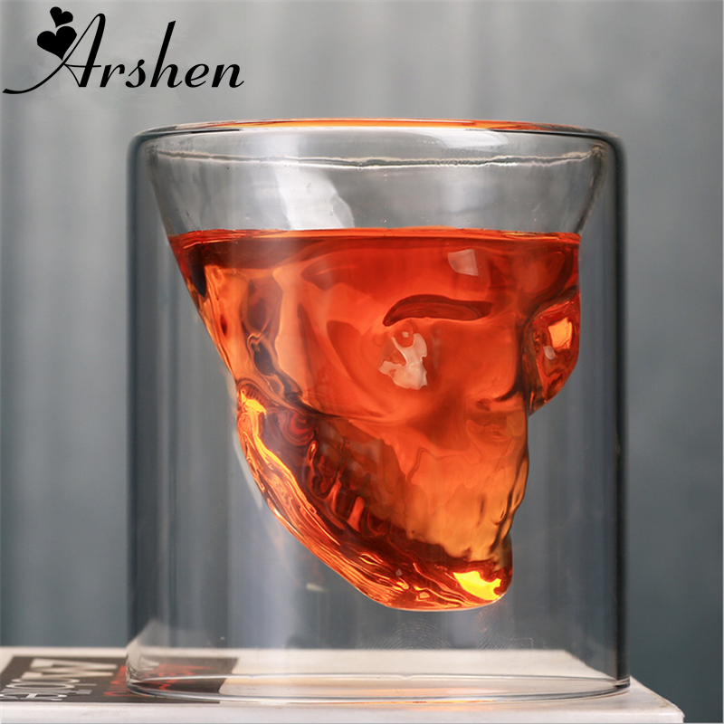 Arshen Creative 4 Size <font><b>Double</b></font> <font><b>Wall</b></font> Skull <font><b>Shot</b></font> <font><b>Glass</b></font> Beer Cup Transparent Wine Whiskey Champagne Cocktails Drinkware Party Gift