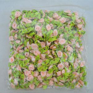 Image 3 - 100pcs Handmade Mini Satin Flowers For Garment Accessories Artificial Ribbon Rose flower DIY Wedding Scrapbook Cards Ornament