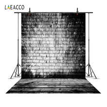 Laeacco Fade Black Vintage Brick Wall Wooden Floor Photography Backgrounds Customized Photographic Backdrops For Photo Studio