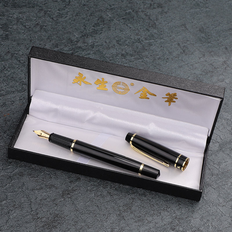 Gold Arrow Clip Black Bent Nib Fountain Pen 1.0mm Smooth Writing Calligraphy Art Pens School Office Supplies Stationery most popular duke confucius bent nib art fountain pen iraurita 1 2mm calligraphy pen high end business gift pens with a pen case
