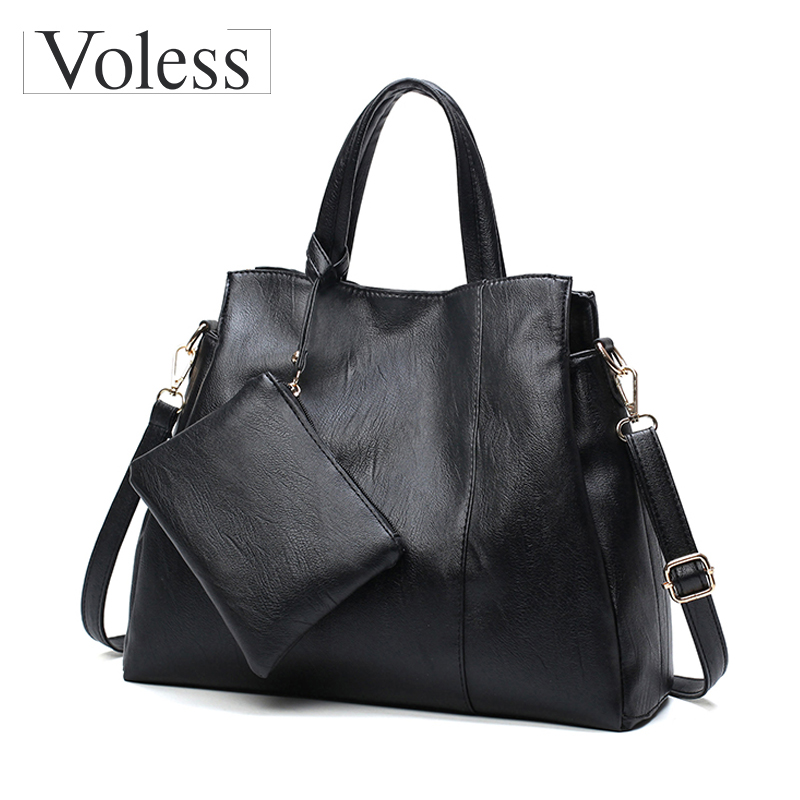 2pc Shoulder Bags For Women Leather Handbags Female Messenger Bags Large Capacity Crossbody Bag For Women Tote Bag Sac A Main yasicaidi fashion women leather handbags large capacity tote bag black oil leather shoulder bag crossbody bags for women handbag