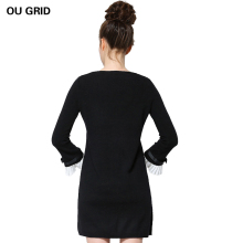 Knitted Sweater Dress New Arrival Bow Flare Sleeve Autumn Ladies Black Dress L-5XL Casual Plus Size Women Clothing Vestidos