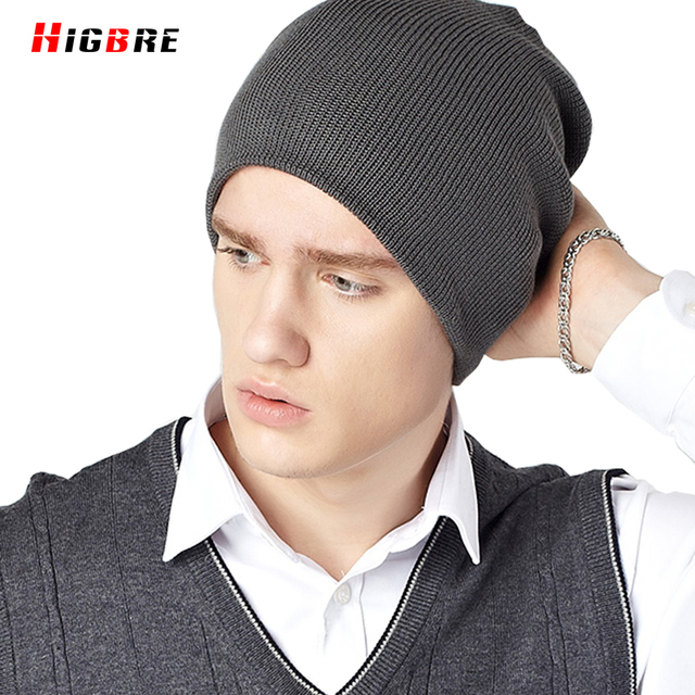New Korean Casual Hedging Men Cap Winter Knit Hat Warm Men Cotton Knitted Hat Autumn Cap Snow Black Bonnet Homme Hiver De Marque