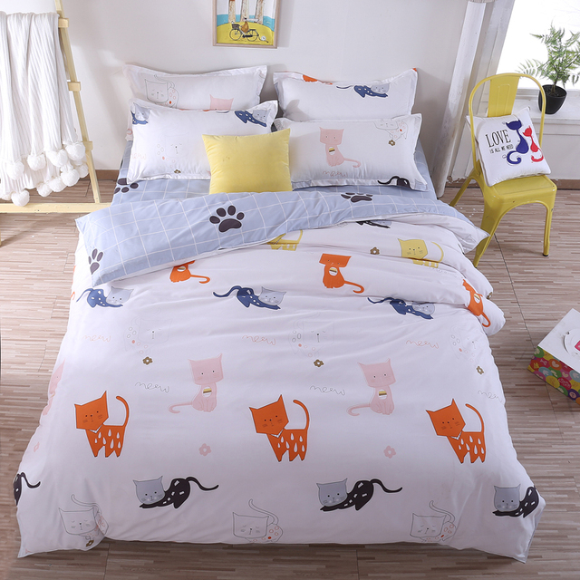 . US  46 0  White yellow cat bedding sets children kid bedroom decor cartoon  printed bed linen kids duvet cover soft pillowcase home textile in Bedding