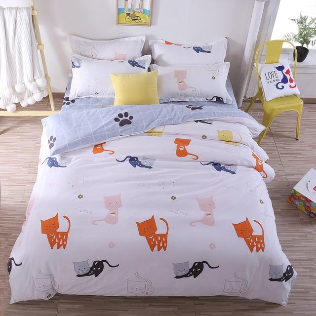 White yellow cat bedding sets children kid bedroom decor cartoon ...