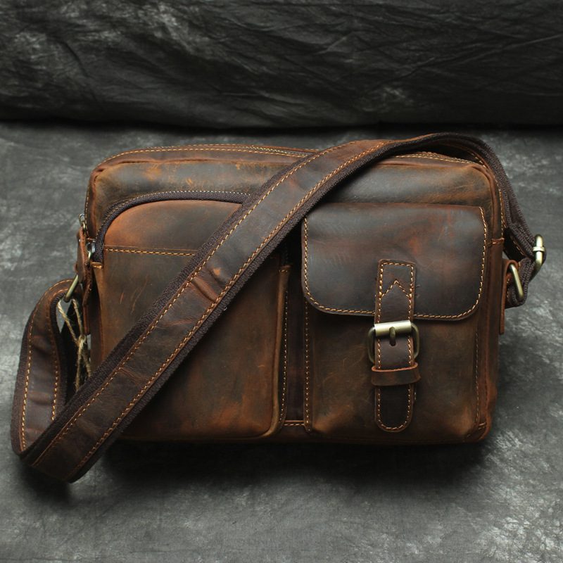 Nesitu Brown Vintage Genuine Leather Cross body Men Messenger Bags Crazy Horse Leather Shoulder Bag #M120 7084lb j m d crazy horse leather men s brown messenger cross body shoulder bag hot selling